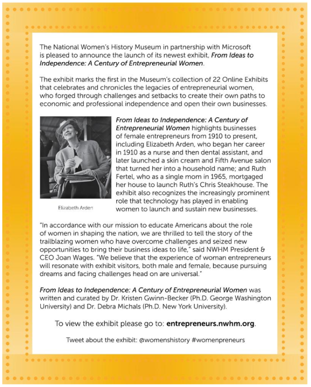 Entrepreneurial Women Exhibit Announcement