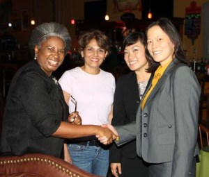 Business Women of Color Taskforce Chair Suzy Jackson (Federal Liaison Officer for Team Pegine) and Sylvia Pulido, Owner, Havanna Jax welcome workshop presenters Florence Chen and Jo-Anne Yau (far right), partners of Yau Law Firm.