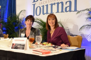 JWBC Advisory Board chair Candace Moody and speaker Leslie Grossman